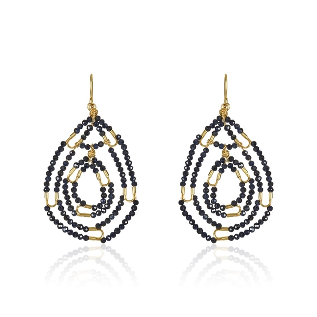 "Beautiful dark Blue beaded Sapphire Gemstone Earrings. These oval drop Earrings are in 14k Gold Filled Wire with the center drop hinged for movement. By Mabel Chong, San Francisco. Hooks L 2"" X W 1 1/4"""