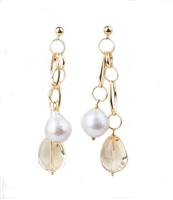 "Beautiful ""go anywhere"" Chandelier Earrings by Mattia Mazza. These Earrings feature two 18k Yellow Gold Chain Drops - one holding a White Pearl (aprox 12-13mm) and the other a Golden Citrine Gemstone. Posts. Made in Italy. L 2 1/2"" X W 1/2"""
