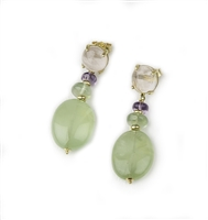 "Gemstone Drop Earrings - A Pink Quartz Cabochon holds a large Gemstone drop of Green Fluorite. Smaller Amethyst & Fluorite Beads are in-between. 18k Yellow Gold. Made in Italy by Mattia Mazza. Posts. L 1 3/4"" X W 5/8"""
