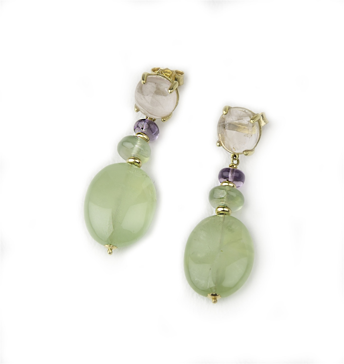 Earrings with cameos and green quartz cabochons
