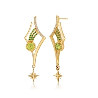 "Taking inspiration from the heaven's, Martha Seeley's ""Antares"" Earrings feature 2  7mm Peridot Gemstones, 28 1.5mm Diamonds & 30 1mm Tsavorite (Green) Garnets. Uniquely stunning. 14k Yellow Gold. Length 2"", Width 3/4"". Posts. Shooting Star Collection."