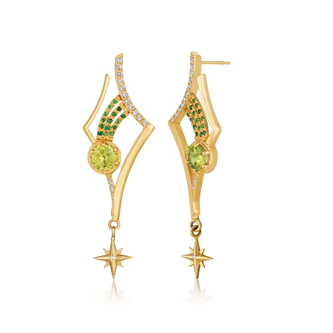 "Taking inspiration from the heaven's, Martha Seely's ""Antares"" Earrings feature 2  7mm Peridot Gemstones, 28 1.5mm Diamonds & 30 1mm Tsavorite (Green) Garnets. Uniquely stunning. 14k Yellow Gold. Length 2"", Width 3/4"". Posts. Shooting Star Collection."