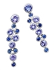 "Stunning designer Earrings by Martha Seeley. These multi-gemstone Drop Earrings feature a mix of Tanzanite, Blue Sapphires and White Diamond Gemstones (total 1.9ctw). They are hinged for movement. Posts. Rhodium plated 925 Sterling Silver. 1"" long"