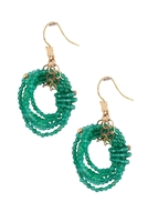 Multiple strands of Emerald Green Agate Gemstone Beads create these Infinity Hoop Earrings by Rajola.  Made in Italy & done in 18k Yellow Gold. Hooks