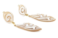 Not your Grandmother's Cameos! Hand carved Cameos are given a modern look in these long drop Earrings by Rajola. The carving has a modern Art Deco design & the top and bottom pieces are hinged for movement. Crafted in Italy. 18k Gold posts with lever back