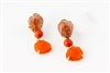 These stunning Earrings feature Sunstone Gemstones at the post with a drop of a Sciacca Coral Bead and brilliant Orange Carnelian. Crafted in Italy by Rajola.  18K Gold with lever backs. 