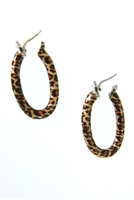 Add a little fun to your jewelry collection with these Enameled oval Hoop Earrings by Rosato.  They have a 3-tone Leopard Enameled Print and are crafted in 925 sterling silver. Latch backs. Made in Italy. Length 1 1//2 inch