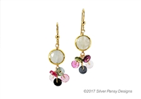 A single Moonstone Gemstone is Bezel set and holds a cluster of multi-color Heishi cut Tourmaline Gemstones. Light weight, fun, colorful & easy to wear drop Earrings.   Gold Filled Sterling Hooks and chain. Made in the U.S. by Silver Pansy. Length 1 1/2""