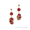 "Beautiful Ruby Gemstone Earrings. A single Ruby Coin holds a cluster of six additional Ruby Coins. The coin shaped Rubies are Bezel set and 3/8"" in diameter. Gold Filled Sterling Posts & Chain. Made in the U.S. by Silver Pansy. Length 2"", Width 5/8"""