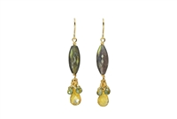 Stunning drop Earrings crafted in the U.S. by Silver Pansy. The long Labradorite cylindrical Gemstone holds a drop of Citrine Gemstone with a cluster of Green Sapphires.  Gold Filled Sterling Silver Posts. Length 1 3/4""