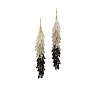 These Chandelier Earrings will light up any outfit. Graduating in color, the descending drop starts with White Opals, then Silver Labradorite and ends with Black Spinel Gemstones. Made in 14k Gold Filled wire & chain by Silver Pansy. Posts. Length 2 1/2""