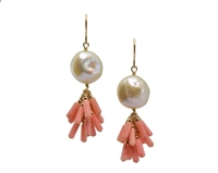 "Beautiful White Freshwater Coin Pearl Earrings with a fringe drop of Peach Coral Beads. Fun, sassy and easy to wear. Made in the U.S. by Silver Pansy. Gold filled chain & Hooks. L 2"" X W 5/8""."