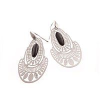 "From Ziio's Silver Collection, these intricately laser cut Sterling Silver Earrings have a single Black Onyx Gemstone as a drop a the center. Hand crafted in Italy. 925 Sterling Posts (not hooks as pictured). L 2 1/4"" X W 1 1/8"""