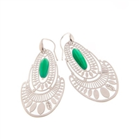 "From Ziio's Silver Collection, these intricately laser cut Sterling Silver Earrings have a single Green Onyx Gemstone as a drop a the center. Hand crafted in Italy. 925 Sterling Posts (not hooks as pictured). L 2 1/4"" X W 1 1/8"""