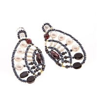 From Ziio's Aki Collection, these are beautiful Art-to-Wear designer Drop Earrings. Done in Black Onyx, Spinel, Zircon & Garnet Gemstones with White Water Pearls & Murano Glass Beads. Beaded on Stainless Steel wire. Signature 925 Sterling Silver Post.