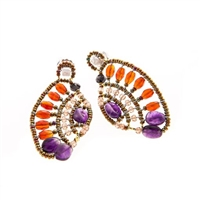 "Ziio's ""Aki"" Drop Earring in Carnelian, Amethyst & Zircon Gemstones"