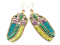 Peridot, Turquoise & Amethyst Earrings by Ziio