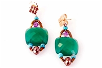 A beautiful classic Earring with an Italian twist. A large faceted dark Green Onyx Gemstone is accented with Blue Turquoise and a single Lapis bead. Hand crafted in Italy by Ziio with Murano Glass Seed Beads. 925 Sterling Silver Posts. Length