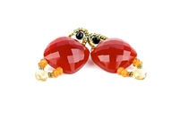 A beautiful classic Earring with an Italian twist. A large faceted Carnelian Gemstone is accented with White Seed Pearls and a single Tear Drop Carnelian. Hand crafted in Italy by Ziio with Murano Glass Seed Beads. 925 Sterling Silver Posts. Length 2""