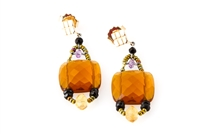A beautiful classic Earring with an Italian twist. A large faceted Honey Citrine Gemstone is accented with White Water Pearls and a single Tear Drop Amethyst. Hand crafted in Italy by Ziio with Murano Glass Seed Beads. 925 Sterling Silver Posts. Length 2