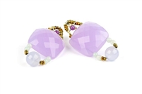 Lavender Amethyst Gemstone Facet Cut Drop Earrings by Ziio