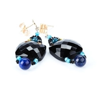 "A beautiful classic Earring with an Italian twist. A large faceted Black Onyx Gemstone is accented with Turquoise Beads and Blue Lapis Gemstones. Hand crafted in Italy by Ziio with Murano Glass Seed Beads. 925 Sterling Silver Posts. Length 2"" X W 3/4"""