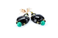 Black Onyx Facet Cut Drop Earrings with Malachite by Ziio
