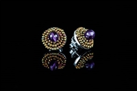 These Button Earrings by Ziio will make a wonderful addition to any wardrobe. A single Purple Amethyst Gemstone is surrounded by two rows of golden Murano Glass Beads. 925 Sterling Silver back & Post. Made in Italy. Dimension 5/8""