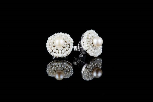 White Pearl Button Earring by Ziio
