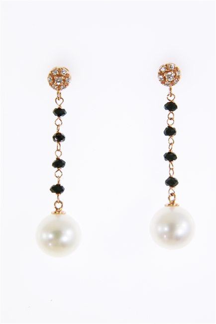 Beautiful drop Earrings that will take you from day to evening. From the White Diamond embelished Studs descends four Onyx Gemstones holding a single White Pearl (aprox 11mm). Made in Italy by Zoccai in 18K Gold. 0.12ctw Diamonds. Length 1 5/8""