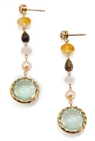 "Beautiful long, Pastel, Drop Earrings featuring a Green bezel set Amethyst Gemstone accented with Citrine, Smokey Quartz, Pink Quartz & Pink Pearl. The posts have prong set Diamonds. 26.20tcw. Made in Italy by Zoccai, they are in 18k Yellow Gold.  L 2""."