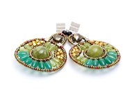 drop Earrings by Ziio.  Circular in shape, they feature a beautiful mix of Green Gemstones - Jade, Peridot & Apatite. Complimented with Pyrite, Golden Brass & Murano Glass beads, they are hand crafted on stainless steel wire. 925 Sterling Silver Posts
