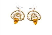 Uniquely faceted, temple cut Citrine Gemstones are the drops, warmed by the glow of Fresh Water Pearls. Another smaller Citrine drop & Murano Glass Beads give this Earring it's designer look. Hand-crafted in Italy by Ziio. 925 Sterling Silver posts.