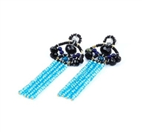 From Ziio's Twilight Collection - Beautiful long Tassel Earrings in Black & Blue. The posts feature Black Onyx & Tourmaline Gemstones with Lapis Gemstone Beads holding four Tassel drops of brilliant Blue Zircon. Sterling Silver Posts. Hand crafted