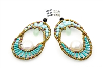 Ziio's Elisse drop Earring is a design that will never go out of style. The oval Chandelier Earring compliments every face structure. Open at the center, the top is beaded with Turquoise Beads and has a single Green Chrysophrase Gemstone Teardrop