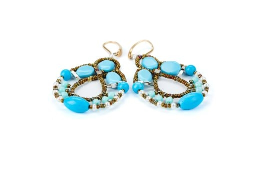 Ziio's Permanent Collection - Galaxie chandelier Earrings in Blue Magnesite Gemstones, White Seed Pearls, imitation Turquoise Beads. Murano Glass Beads on Stainless Steel Wire create the design and shape.Gold plated 925 Sterling  Posts. L 2 3/4 X W 1 1/2
