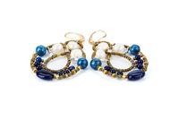 "Galaxie chandelier Earrings are done in White Water Pearls & Blue Lapis Gemstones with Blue Zircon accents. Murano Glass Beads on Stainless Steel Wire create the design and shape. Gold plated 925 Sterling Silver Posts. L 2 3/4"" X W 1 1/2"""