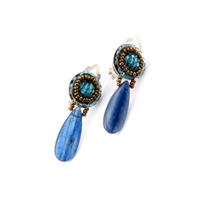 From Ziio's new Gioaba Collection, these Blue Kyanite Teardrop Earrings will delight. A button post of Blue Zircon Beads holds a large polished drop of a Blue Kyanite Gemstone. Hand crafted in Italy by Ziio with Murano Glass Seed Beads. 925 Sterling