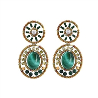 From Ziio's new Goiaba Collection, these Green Malachite Gemstone drop Earrings will delight. Surrounded by Green & Gold Zircon Beads that compliment, these shades of green Earrings are perfect for your Spring & Summer wardrobe. Hand crafted in Italy