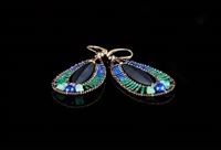 Ziio's long Jet Earrings with a mat Black Onyx Gemstone at the center, Blue Lapis surrounding at the top & Green Serpentine at the lower half. Gold plated 925 Sterling Silver Posts.