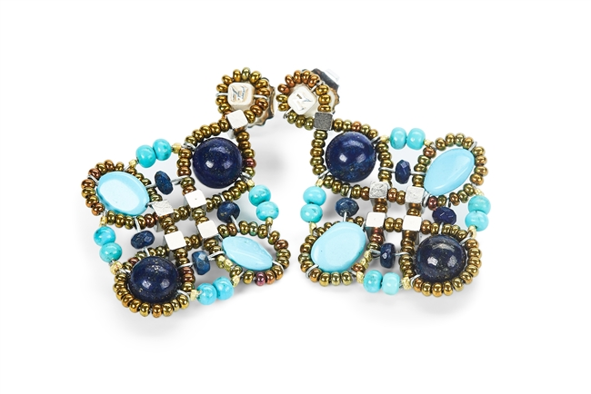 Ziio's Knott Collection, these Earrings are fun & colorful beautiful mix of blues. Blue Lapis & Turquoise Gemstones in various shapes & sizes blend together with Murano Glass Beads creating the design. Posts, in 925 Sterling Silver. Handcrafted in Italy