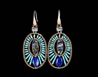 Ziio's Moonlight Drop Earring done with Abalone at the center, surrounded by brilliant Turquoise Beads and a single Blue Lapis Gemstone at the bottom. Hand crafted with Murano Glass Beads. Made in Italy. 925 Sterling Silver Hooks. L 2 1/2""