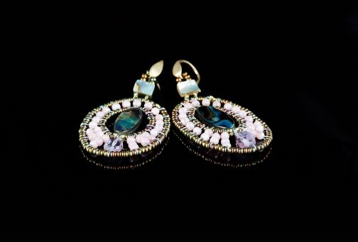 Ziio's oval drop Moonlight Earring comes in various colors. An Abalone at the center is surrounded, in this case, with Pink Stones and an Amethyst Gemstone at the bottom. Murano Glass Beads are used to create the shape. Gold plated Sterling Silver Post