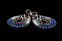 stunning oval drop Earrings by Ziio.  They feature a rich medley of Blue Lapis & Red Garnet Gemstones accented with Sterling Silver & Green Murano Glass Beads. Hand Beaded on stainless steel wire