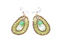 Oval Drop Earring by Ziio is a shape that compliments everyone. At the center is a Flourite Gemstone & an imitation Chrysophrase. They are framed by Green Peridot Gemstones on stainless steel wire with Murano Glass seed Beads. A beautiful harmony of green