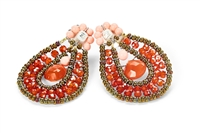 From Ziio's Tabiz Collection, these oval drop Earrings sparkle in Orange Zircon Gemstones. A small Carnelian drop is at the center. Murano Glass Beads on stainless steel wire create the frame & shape. 925 Sterling Silver Posts. Made in Italy