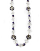 Long Crystal & Murano Glass Necklace, Sterling Silver