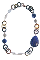 Natural tan & brown Horn Necklace by Amle. Asymmetrical in design, the collar Necklace is accented with Blue Lapis, Smokey Quartz & White Agate Gemstones in various shapes and sizes. Hand crafted in Italy in Rose Gold plated sterling silver chain & clasp