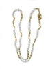 "This is a Necklace you will reach for again and again - clear Crystal Beads are alternating with smaller brushed Yellow Gold plated Beads. Wear it long or doubled. Easy to layer with other Gold Necklaces. Made in Italy by Anticoa. Length 42"", hook latch"