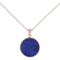 "A round disc, Blue Lapis Pendant Necklace, perfect for any occasion. Layer it with other Necklaces. Made in Italy by Bronzallure, finished in their 18k Golden Rose' patented plating. Pendant is 1"" in diameter. Chain is 18"" to 16"". Lobster clasp"